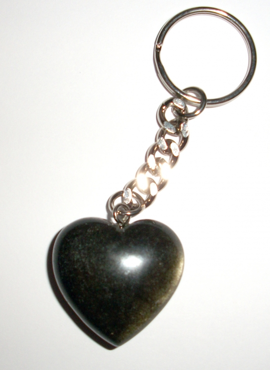 Gold Sheen Gemstone / Crystal Heart Keyring